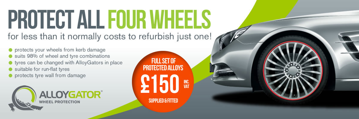 Protect all four wheels for less than it normally costs to refurbish just one! * Protects your wheels from kerb damage * Suits 98% of wheel and tyre combinations * Tyres can be changed with AlloyGators in place * Suitable for run-flat tyres * Protects tyre wall from damage AlloyGator Wheel Protection Full set of protected alloys £150 inc VAT supplied & fitted
